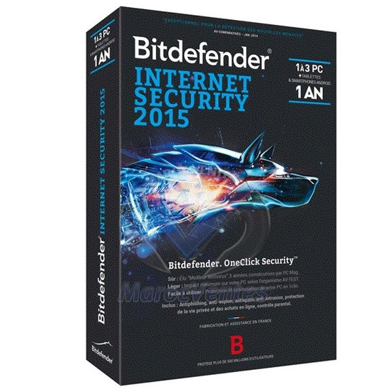 Bitdefender Internet Security2015 - 1 an 3 postes B-QBDIS-5X1P003